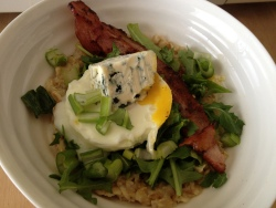 Another delicious savoury oatmeal variation. Egg, bacon, blue cheese, green onion.