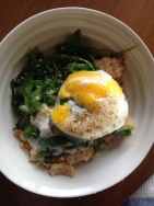 Steel cut oats, soft-poached egg, arugula sauteed in bacon fat