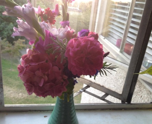 My other best garden bouquet: Gladioli, hydrangea, rose, sweet peas