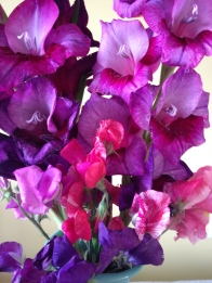 Garden bouquet: Gladioli and sweet peas