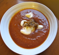 Tomato soup with carmelized onions