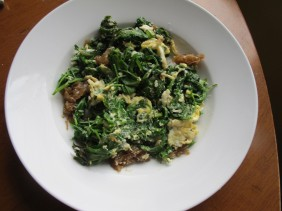 Greens and eggs for breakfast. This became a theme.