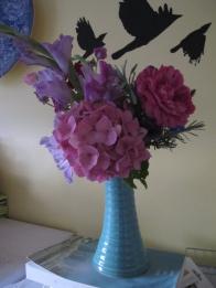 My other best garden bouquet: Gladioli, hydrangea, rose, sweet peas