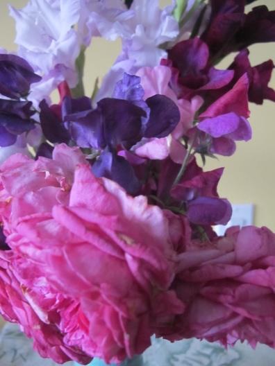One of my best garden bouquets - gladioli, rose, sweet peas