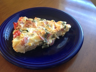 Frittata with potato, goat cheese, ham, red pepper, corn - delicious combo